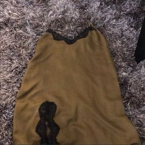 UO silk slip dress with lace details Sz small